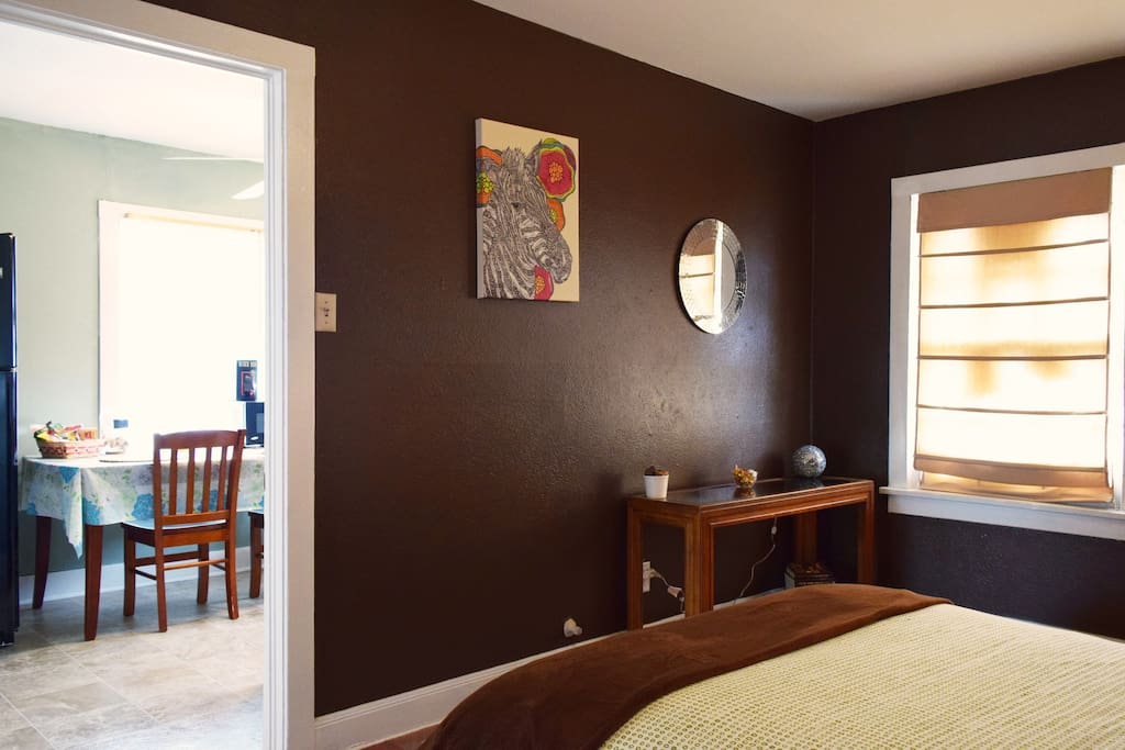 Bedroom - newly painted in chocolate brown.