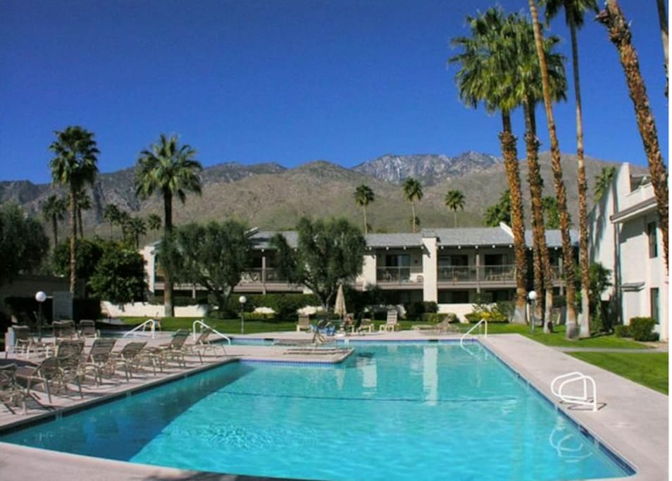 Enjoy the mountain view and large, heated pool and jacuzzi. It's very convenient to your Townhome