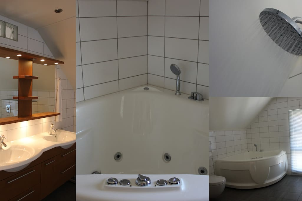 Large bathroom top floor: Double sink, jacuzzi for two, rain shower