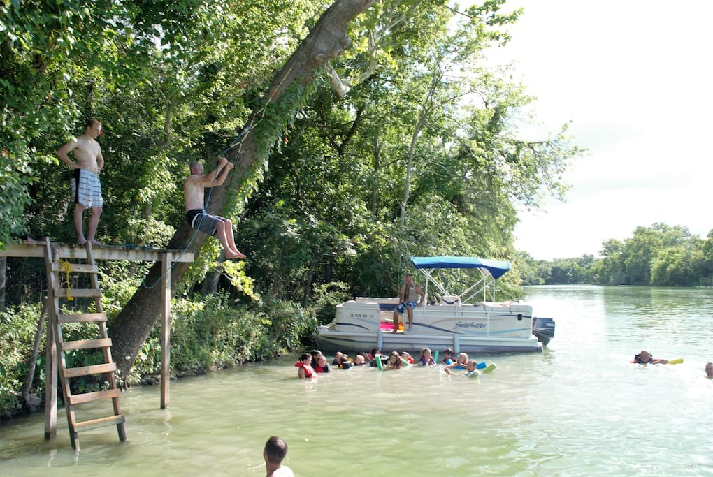 Rent our pontoon or BYOBoat- rope swing down the river! Fish or swim from pontoon.