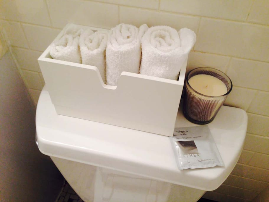 Complimentary hand towels and face cloths for every guest.