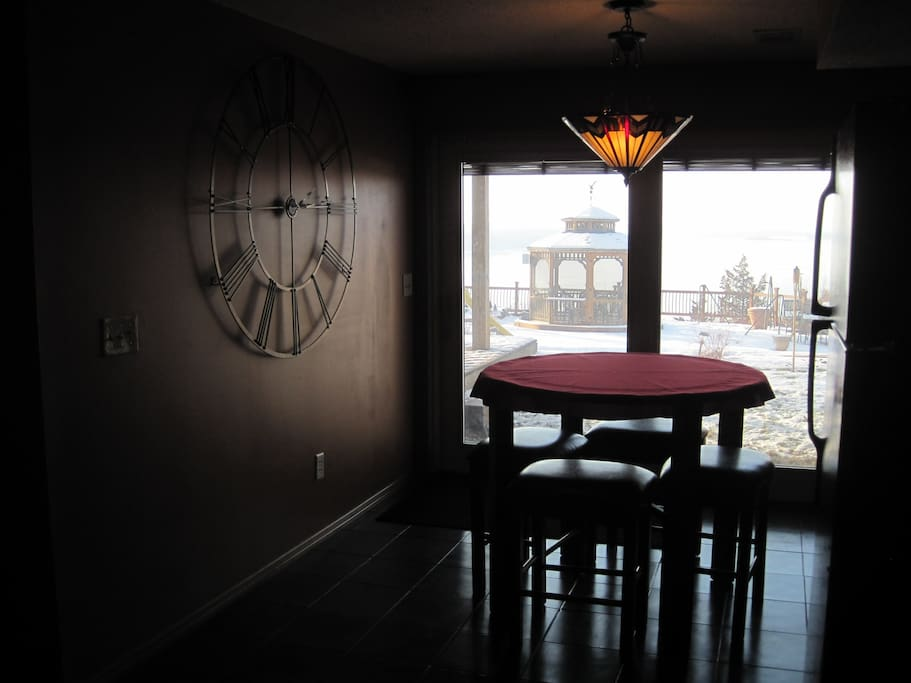 Dining area with view through the patio door.