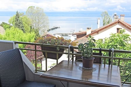 Sunny and cosy bedroom, lake view - 또농 레방(Thonon-les-Bains) - 단독주택