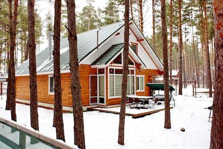 Деревянный коттедж в лесу