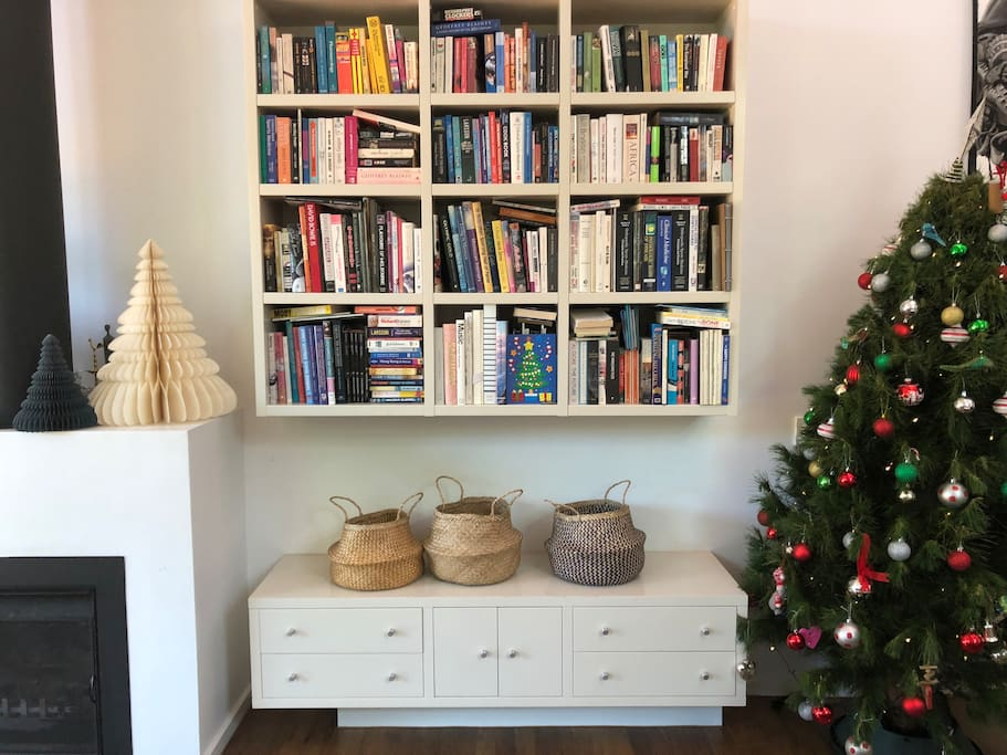 Christmas decorations and an abundance of books to read.