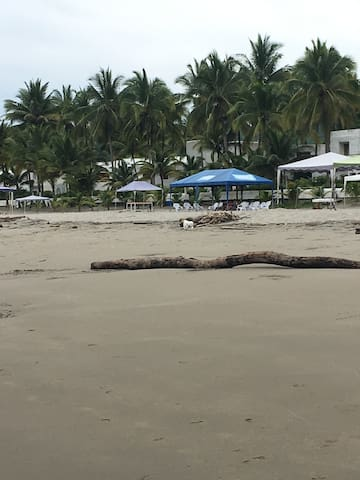 After playing on the beach, where is a place to grab a drink or something to eat