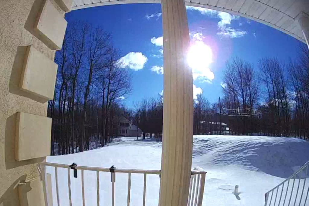 Beautiful winter morning view from the front of the house