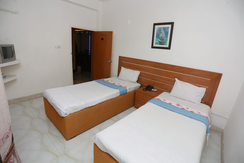 Furnished with standard bed, LED TV with satellite cable connection, Telephone in each room, hot and cold running water, attached bath rooms with bath tub, high commode, exhaust fan