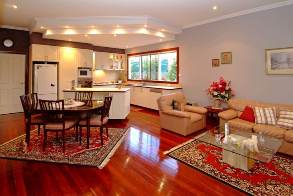 Beautiful airy room with polished jarrah floorboards