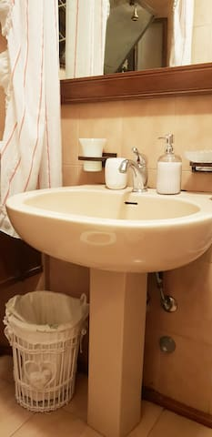 Secondo bagno: lavandino con sapone mani, porta spazzolini, porta saponetta