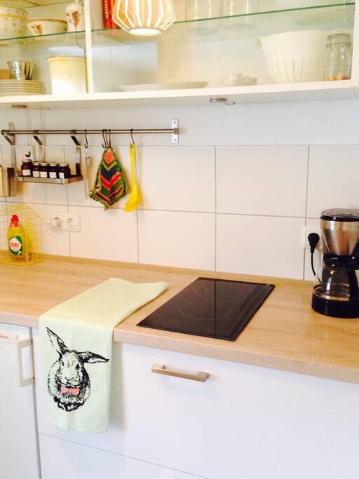 Das ist die Küche mit Herd, Spüle,  Kaffeemaschine, Toaster, Minibackofen und allem was man zum Kochen benötigt