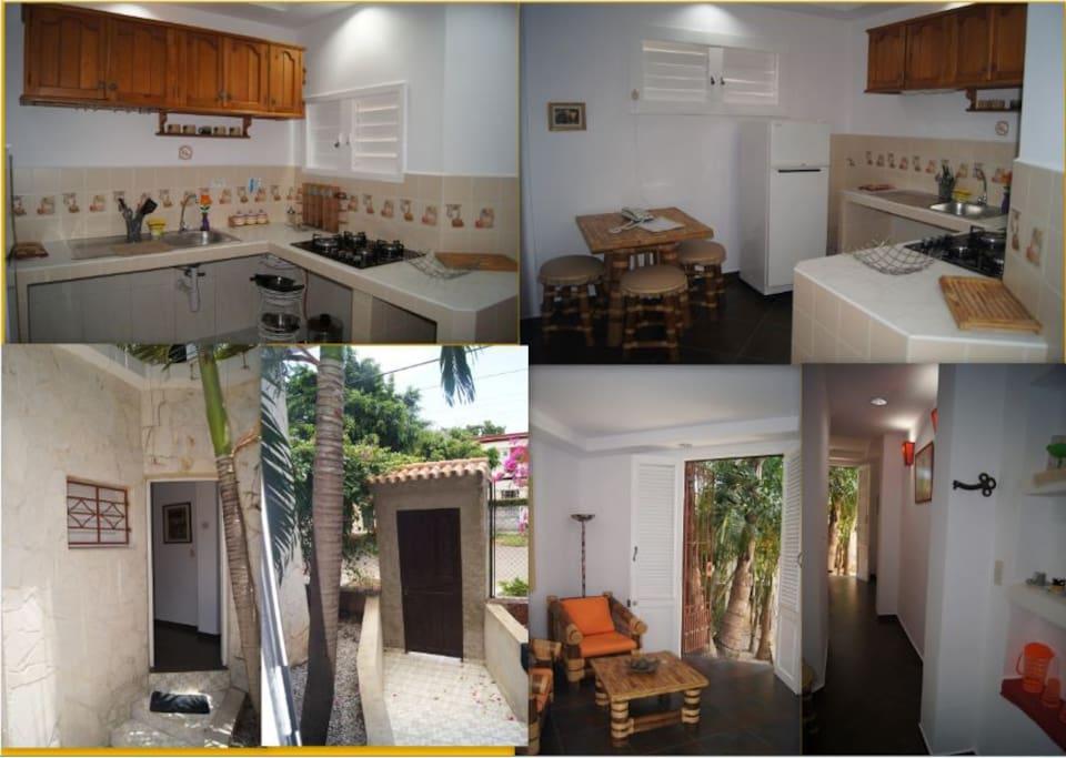 kitchen, principal door and living room