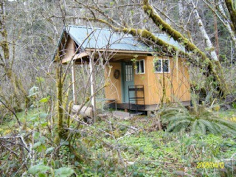 Coho cabana camp cabin on creek cottages for rent in for Cottages of camp creek