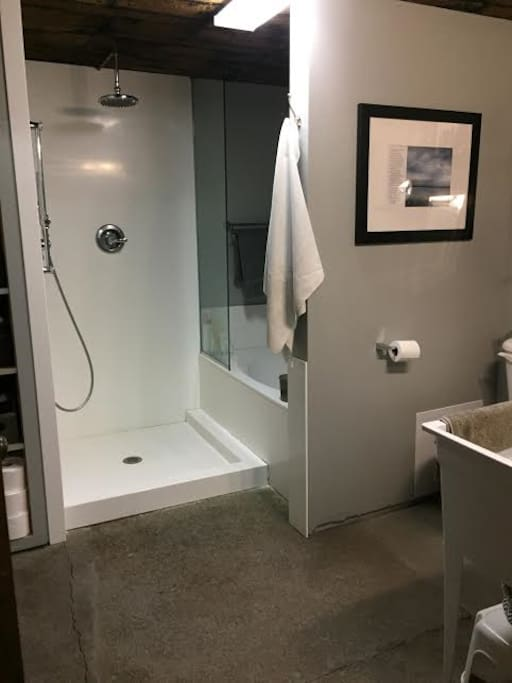 Modern/Industrial bathroom has a generous shower with jets and a large soaker tub. The Bathroom, Cedar lined closet, dressing area, and laundry with new washer and dryer is in a shared space behind the original cooler door.