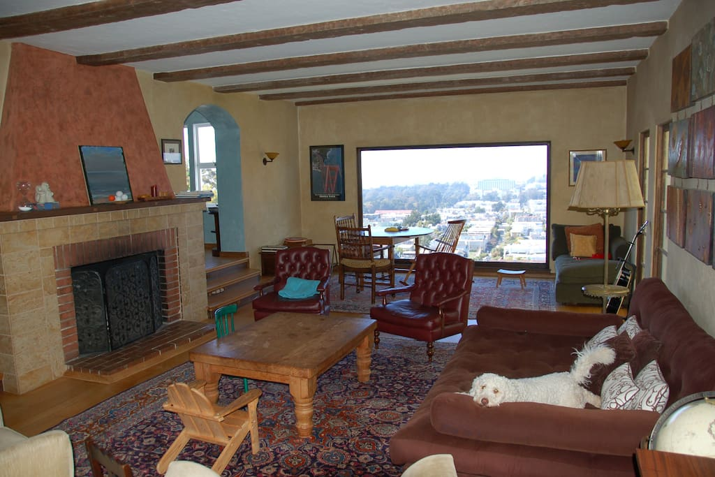 Living Room with Huge Bay Window (Dog not included)