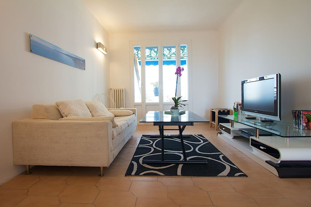 Living room open on both sides and full of light / Salon traversant et lumineux