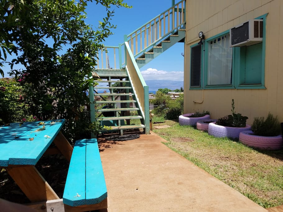 View from your unit :-) Enjoy the picnic table or fresh rosemary and basil from our little garden~