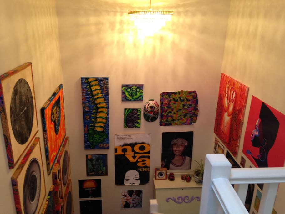 Art gallery stairwell, with local Vancouver artists work
