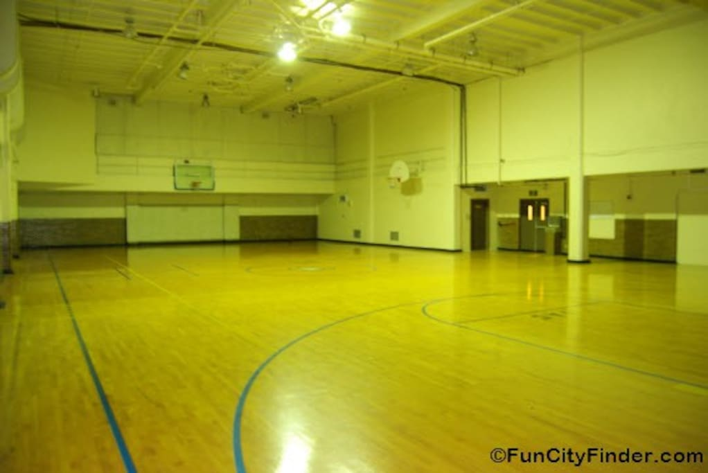 Full basketball court inside