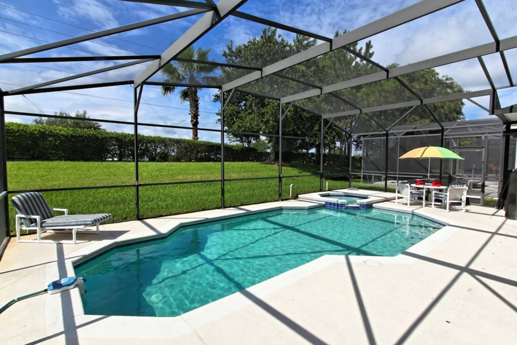 Enjoy family fun together and make hundreds of happy memories to take away and cherish forever of your days spent under the Florida sun in and beside this sparkling pool and bubbling spa.
