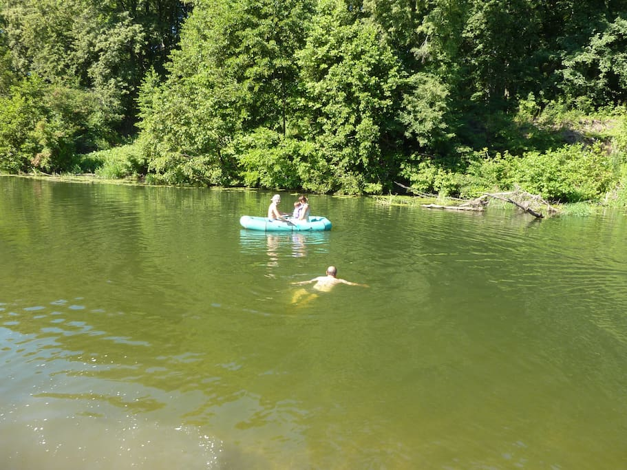 Take a dingy or kayak down the river, or just swim :)