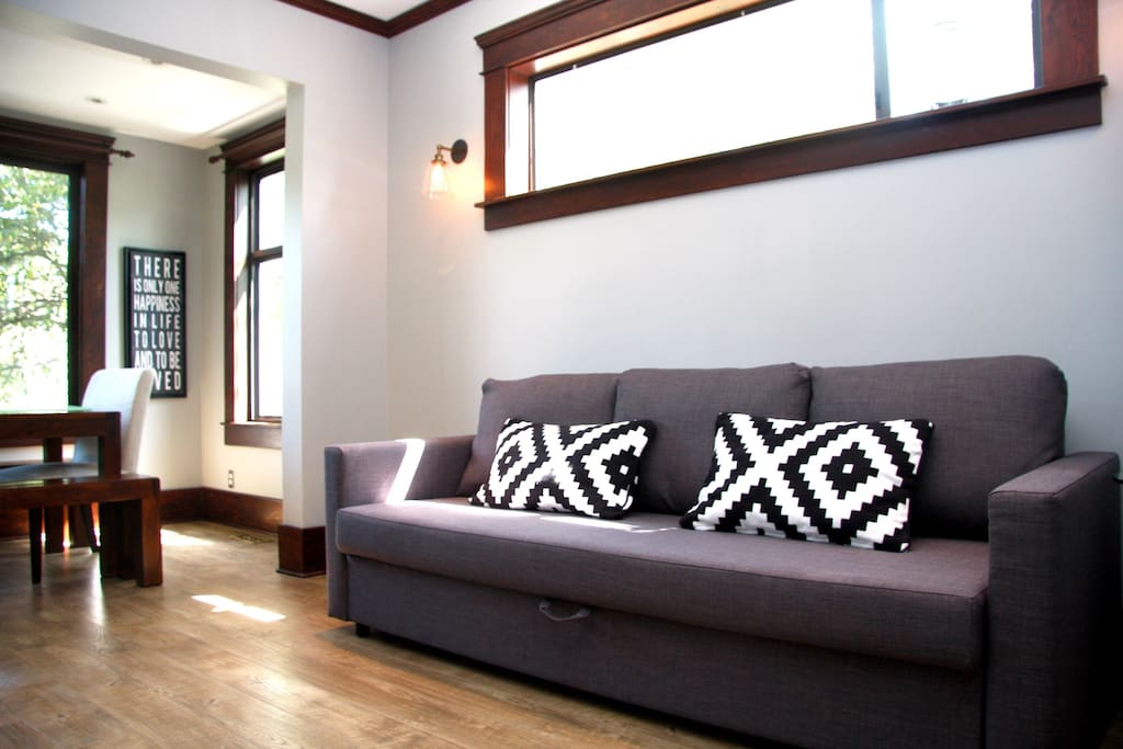 Comfortable pull out sofa to watch TV!