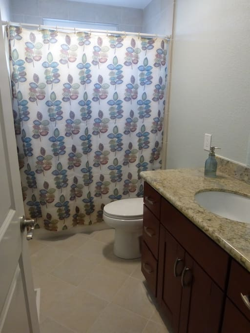 Your private bath, across from your bedroom,turned sideways!