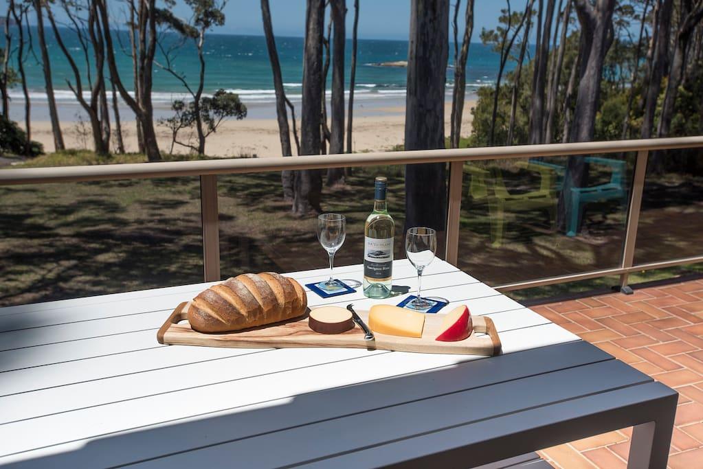 Alfresco dining on the balcony, as you overlook the beach