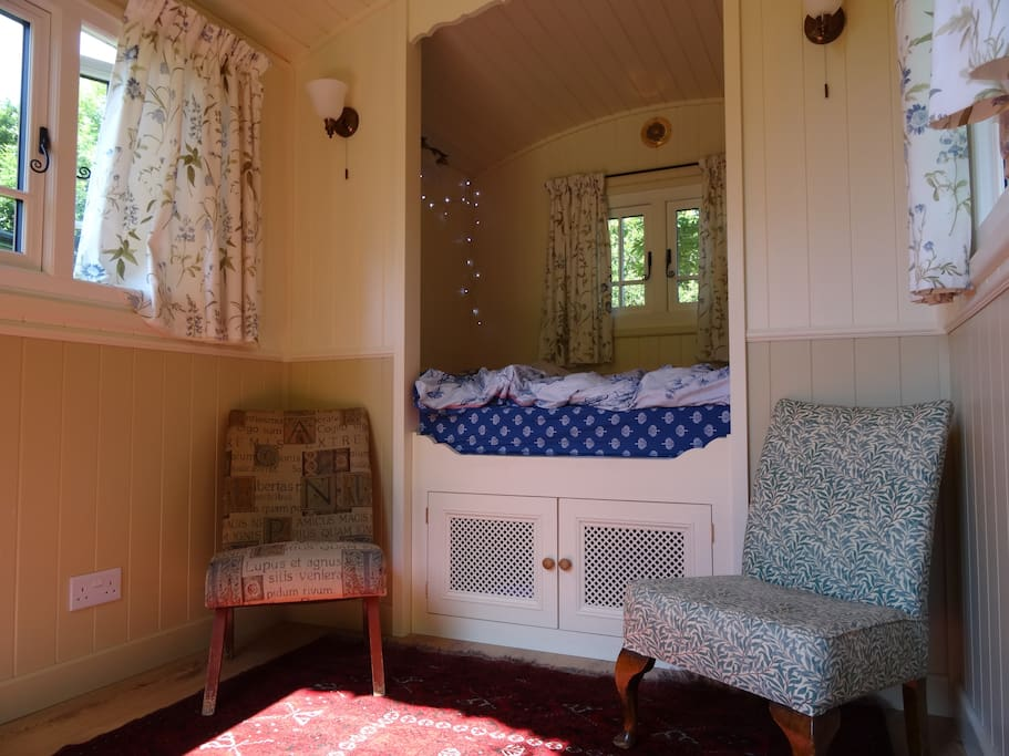 Zelda, spacious gypsy caravan interior.