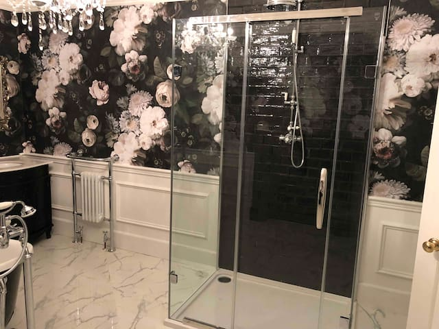 Glass shower cubicle and rainfall head