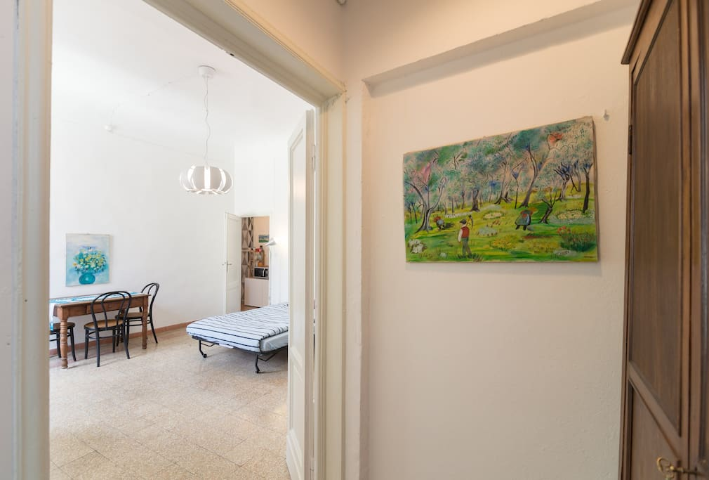 Walking towards the living room... (my grandmother made all the paintings you will find in the apartment :))