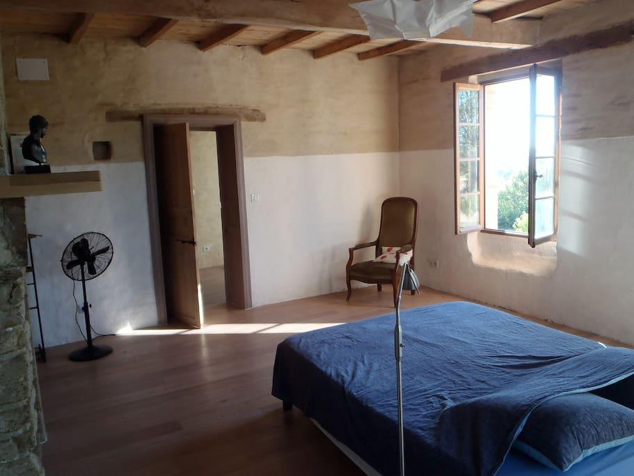 Chambre 1 : lit queen, parquet, salle de bains