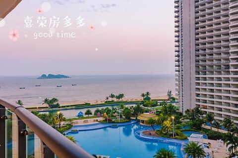 超大阳台眺望三山岛/距离海滩不到百米/从大床房到三张大床任意选择/新装修/敏捷黄金海岸