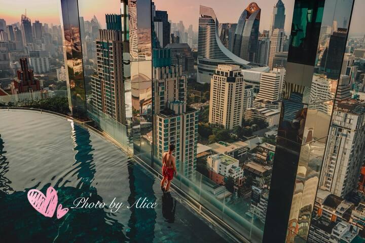 360° Sky Pool/高层豪华夜景房/BTS Central World四面佛SIAM/SYQ