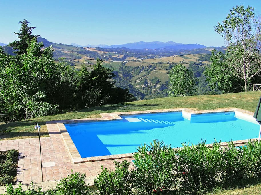 Pool with a view south over the valley and beyond