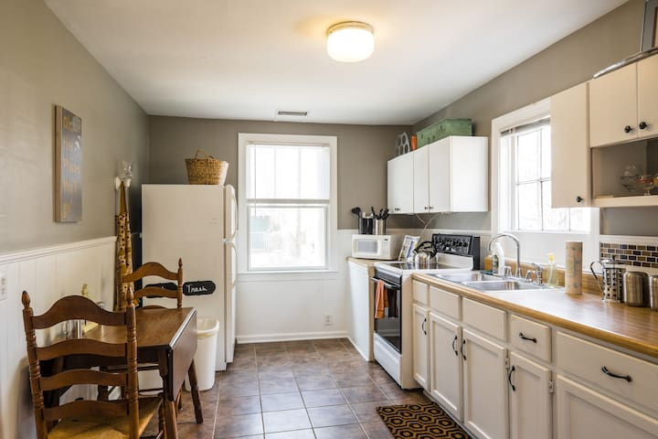 The spacious galley kitchen is inviting