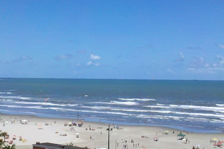 Vista pela sacada para praia com Wi-Fi - Praia Grande
