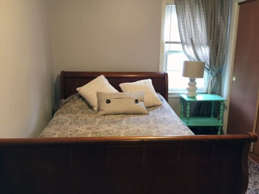 This popular room is now available!  Queen sized full sized  high mattress with  new clean  firm and comfy..with box  spring. Ralph Lauren 100 percent cotton sheets . Purchased new pillows this year. and replace frequently.