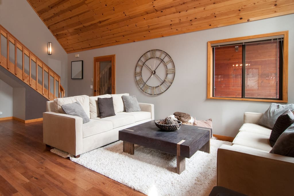 Great room with cozy wood burning stove