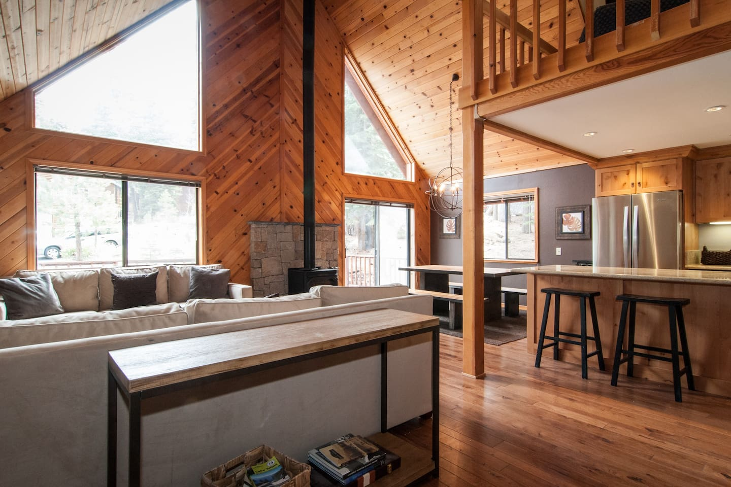 Awesome A-Frame in Tahoe Donner - 3BR, 2BA, sleeps 8.  Perfect little cabin for a family vacation or a getaway with friends.   Completely remodeled with granite countertops, hard wood floors, natural stone bathrooms, stainless appliances.