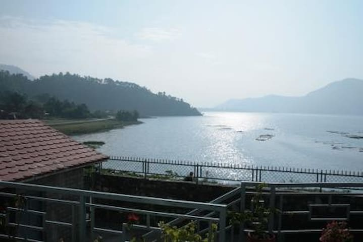 view of serene fewa lake from the house.