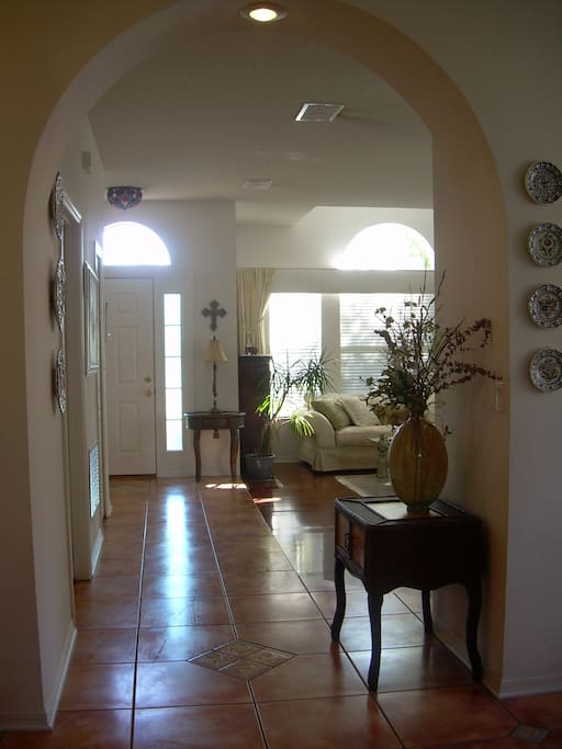 View from family Room into main entrance and Living Room