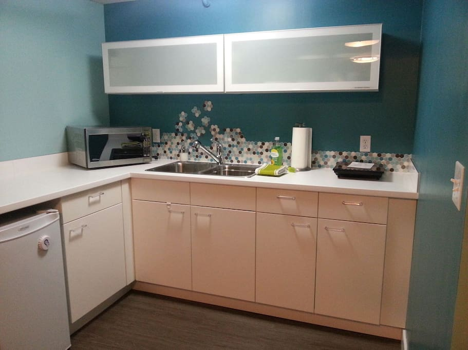 Kitchenette has everything you need including dishes, towels & utensils.