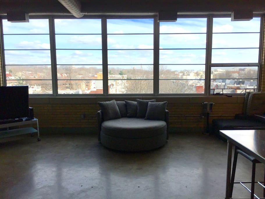 MGBW Chair and 1/2 with city views.