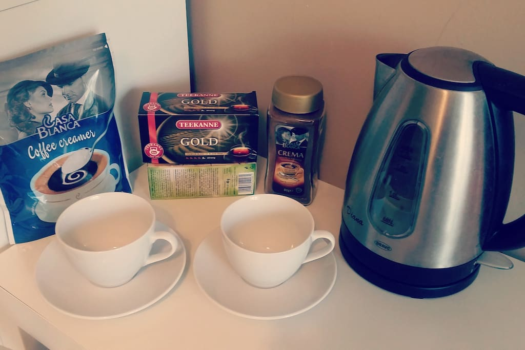 Tea, coffee available in your room!