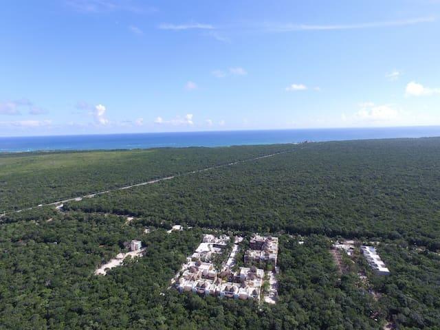 Aerial vie facing the ocean less than 1 mile to the beach