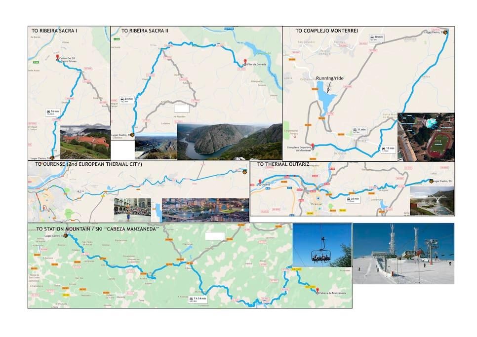 Itinerario a lugares de interés / Itinerary to places of interest