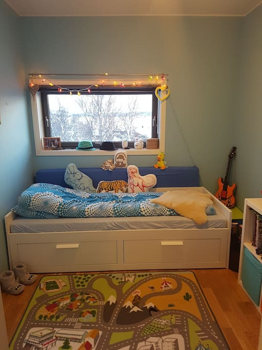 Cozy and small bedroom. The bed pulls out to make a double bed.