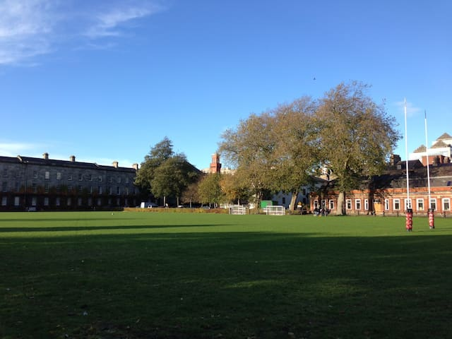 Trinity College: view of the rugby pitch, a few mins walk from the house
