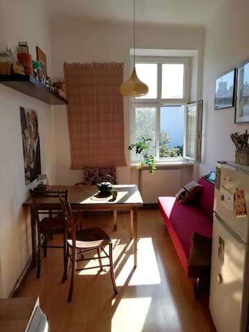 view from the kitchen to the bedroom